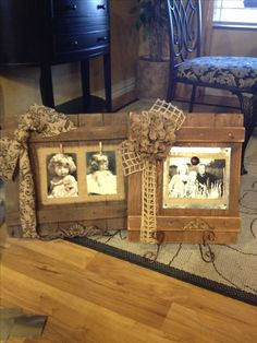 Pallet frames: cut out flashing in small squares attach to wood with decorative nail heads to make pic magnetic.  Use any decorative leather covered magnet to hold up pic