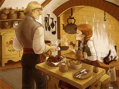 Cute Kristoff Anna fan art.  Since Anna has probably never had to cook for herself, Kristoff does the cooking. by lily-fox on deviant art