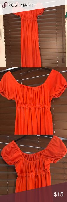 Vintage Princess Dress Orange/Red adorable dress. The cut and sleeves remind me of the princess days. The elastic fitting under the chest makes it able to fit a small or medium. Vintage Dresses Maxi