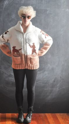 Vintage Cowichan Cardigan Sweater Jacket Hand made by drowsySwords, $135.00