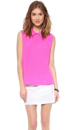 Pin for Later: 15 Blusen für die Arbeit, die nicht langweilig sind Equipment Pink Sleeveless Bluse Equipment Elliot Blouse ($188)