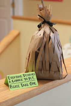 """""""Everyone deserves a chance to fly,"""" please take one. - We put favors inside these bags (how to from Martha Stewart, I think. Wicked Musical, Musical Theatre, 7th Birthday, Birthday Parties, Birthday Celebrations, Wizard Of Oz, Pinterest Board, Martha Stewart, Sweet 16"""