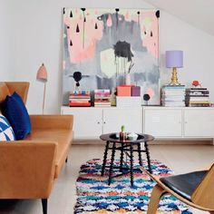 Wonderfully artistic and colorful home a Danish art director and illustrator Nynne Rosenvinge (via femina.dk)