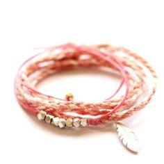 Strawberries & cream friendship bracelets by Vivien Frank Designs