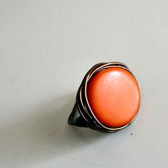 Pumpkin Orange Tagua Bead Ring - New Colors Available - Made to Order in Any Size on Etsy, $8.00