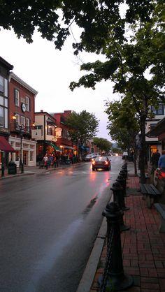 Bar Harbor Maine on a rainy summer evening.