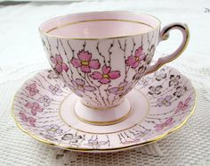 Tuscan Pink Tea Cup and Saucer by TheAcreage on Etsy