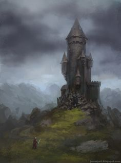 The Wizard's Tower by ~JonasJensenArt on deviantART small castle/tower built from or among rock with entrance in rocks, very tall