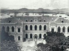 The original City Hall in Hong Kong in 1870 (built in 1869, demolished in 1933).Now the site of HSBC and Bank of China.   🌏