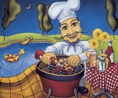 BBQ Chef Mario - Will Rafuse - yard, pool, daisies