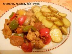 Recept Ražniči na plechu s bramborovými dukátky - Naše Dobroty na každý den | Recepty online Kung Pao Chicken, Meat, Ethnic Recipes