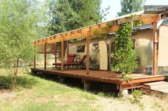 Rogue River, OR Airstream Trailer Rental - Relax on the covered porch, watch the stars come out and the wild turkeys go to roost.