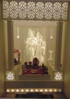 pooja mandir corian puja temple designs ceiling door false living rooms indian prayer bedroom lights india wooden interior glass modern