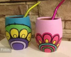 Decorated Flower Pots, Painted Flower Pots, Painted Pots, Pots D'argile, Clay Pots, Pottery Painting, Painting On Wood, Buddha Canvas, Mug Art