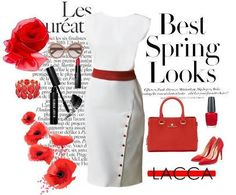 Tulipani Rossi off-white dress with red embellishment Ways To Wear A Scarf, Off White Dresses, Red Satin, Classic Elegance, Spring Looks, Dress Collection, Bobbi Brown, Embellishments, Ashley Stewart