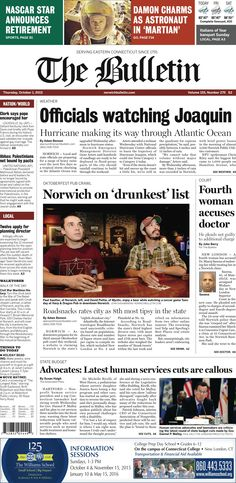 Thursday, October 1, 2015 - Subscribe to The Bulletin today: http://www.norwichbulletin.com/subscribenow #ctnews #newlondoncounty #windhamcounty