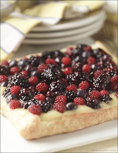 Mixed Berry Fruit Tart with Lemon Curd - puff pastry makes this dessert extra tasty!