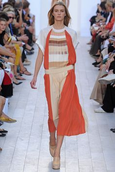 "Chloe. Love the pleating and color treatment. And then a punch of coral to ""ground it"""