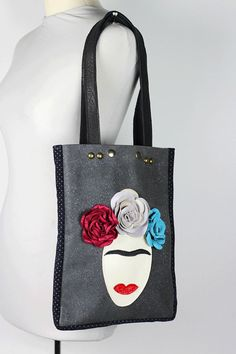 Frida Leather Tote/Dark Gray Leather Shoulder by NeroliHandbags