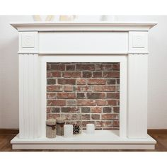 Faux Brick, Exposed Brick, Faux Mantle, Diy Faux Fireplace, Distressed Fireplace, Decorative Fireplace, Fireplace Redo, Fireplace Mirror, Lining Dresser Drawers