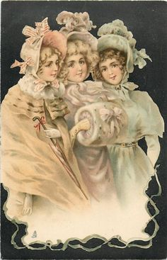 three ladies dressed in pastel colors, one wears muff, another carries umbrella