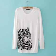 round neck jumper sweater with tiger head