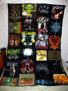 Heavy Metal band t-shirt quilt. DIY: Recycle your old band shirts that no longer fit, and sew them together to make this awesome heavy metal quilt!