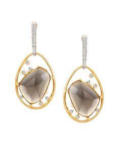 Mia by Tanishq 4.8 g 14-Karat Gold Precious Earrings with Diamonds & Quart