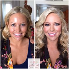 Before & after wedding hair and makeup, perfect bridal look bronzed beach beachy waves vintage feel I want my hair like this ideas @privebeauty