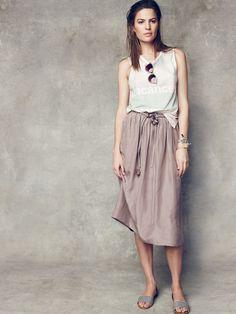 Madewell silk drawstring skirt worn with Vacances shift tank + Surfbreeze sweatshirt + Indio shades.