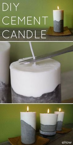 projects with cement DIY Cement Candle Tutor. projects with cement DIY Cement Candle Tutorial Use cement to create a set of modern, beautiful and elegant candles Wohnkultur Concrete Crafts, Concrete Projects, Diy Projects, Diy Candle Projects, Concrete Furniture, Craft Tutorials, Diy Para A Casa, Homemade Candles, Diy Décoration
