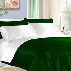 """4 Pc 16""""D.Pkt King Green & White Satin Reversible Duvet Cover Set D-18"""