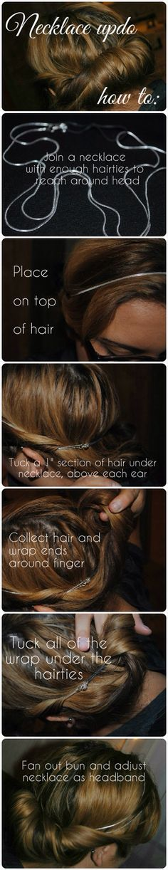 Necklace updo, DIY,  how to, tutorial