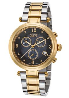 Special Offers 91% Off Burgi Men's Diamond Chrono Two-Tone SS Black MOP Dial Gold-Tone Gold Watch, Diamond, Accessories, Black, Black People, All Black, Diamonds