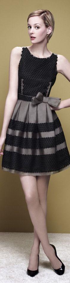 Paule Ka ~ Black + Taupe Embroidered Mini Dress