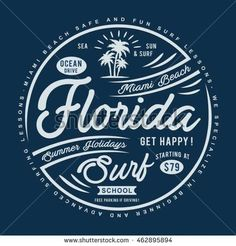 Florida surf typography, t-shirt graphics, vectors
