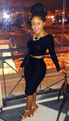 Cropped top, pencil skirt. #BGKI #blackandkillingit