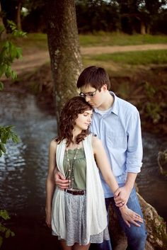 engagement photography at creek