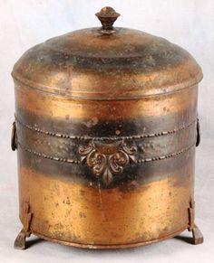 L71 Antique English Arts and Craft Era Copper Coal Bin Ash Box HOD | eBay