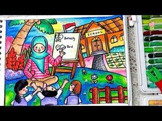 How to draw and color Teacher and School with oil pastel step by step Easy for Kids Energy Conservation Poster, Crayon Drawings, School Life, Peony, Cute Art, Art For Kids, Coloring Pages, Projects To Try, Bird