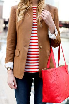 Red striped top, camel blazer and red tote bag Fall Fashion Trends, Autumn Fashion, Core Wardrobe, Capsule Wardrobe, I Fall To Pieces, Best Blazer, Red Tote Bag, Casual Winter Outfits, Clothes For Women