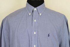 RALPH LAUREN Blake Mens Blue Check Short Sleeve Button Front Shirt Sz XL #RalphLauren #ButtonFront