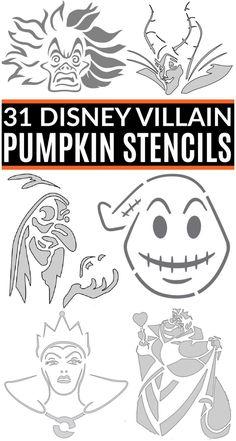 Disney Pumpkin Carving Patterns, Printable Pumpkin Carving Patterns, Disney Pumpkin Stencils, Printable Pumpkin Stencils, Pumpkin Carving Stencils Free, Pumkin Carving, Witch Pumpkin Stencil, Halloween Pumpkin Stencils, Halloween Crafts