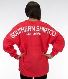 "V-Neck Jersey - Jersey Pullovers - Shop | The Southern Shirt Company @Jenn L Ray Steele   I finally figured it out! it's called a ""spirit jersey"""