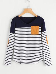 Camiseta a rayas de bajo irregular con parche al codo -Spanish SheIn(Sheinside)