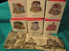 LIBERTY FALLS COLLECTION Lot of 6 Buildings plus Music Box Bell Tower AMERICANA