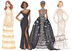 Oscars Red Carpet 2017 Fashion Illustrations by Joanna Baker