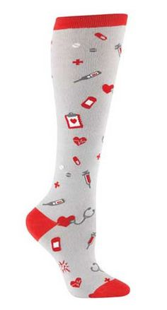 Nurses are the angels of the hospital!    Grey knee high socks with red accents and nurse accessories.  Fits women's shoe size 5-10.