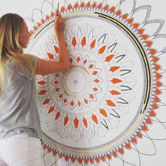 mandala Oksana Stepanova — Mural project for Equilibrium Yoga in Montreal . Mandala Doodle, Mandala Art Lesson, Mandala Artwork, Mandala Dots, Mandala Drawing, Mandala Painting, Mandala On Wall, Wall Painting Decor, Mural Wall Art