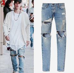 49.50$  Buy here - http://alirnb.shopchina.info/go.php?t=32699766932 - Mens boys unique Jumpsuit Designer RedLine Rock Star Justin Bieber Kanye West Skinny Ripped Denim Designer Jeans High Quality  #aliexpress